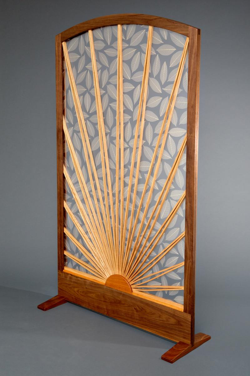 Sun and Leaf Room Divider Screen